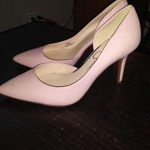 Jessica Simpson Pheona Pink snakeskin pumps.  Neve